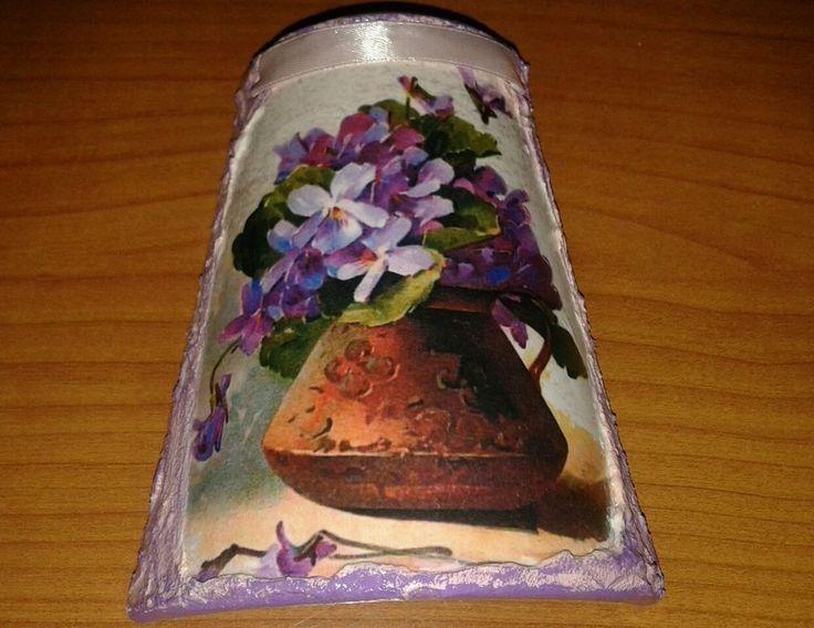 Tegola decoupage terracotta vaso fiori idea regalo festa della mamma cm 13