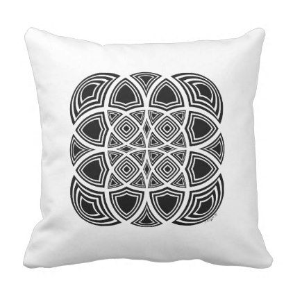 Black And White Geometric Fractal Design Throw Pillow - black and white gifts unique special b&w style