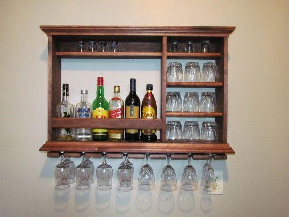 Wall bar Wine rack Wall hanging Mini bar 3 foot by by DogWoodShop