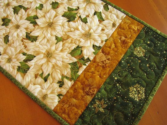 White Poinsettia Christmas Table Runner by PatchworkMountain