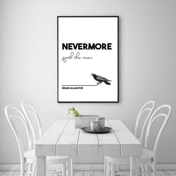 Edgar Allan Poe Nevermore Art Print Quote  24 by NordicPrintStudio