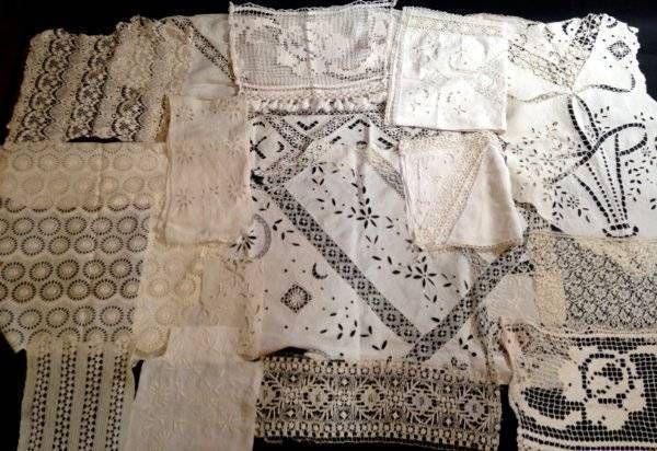 Antique Vtg Lace Embroidered Salvage Textiles Job Lot Craft Trim Edging White