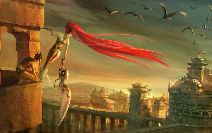 cityscapes architecture redheads weapons buildings Heavenly Sword fantasy art artwork Nariko swords  / 1280x800 Wallpaper
