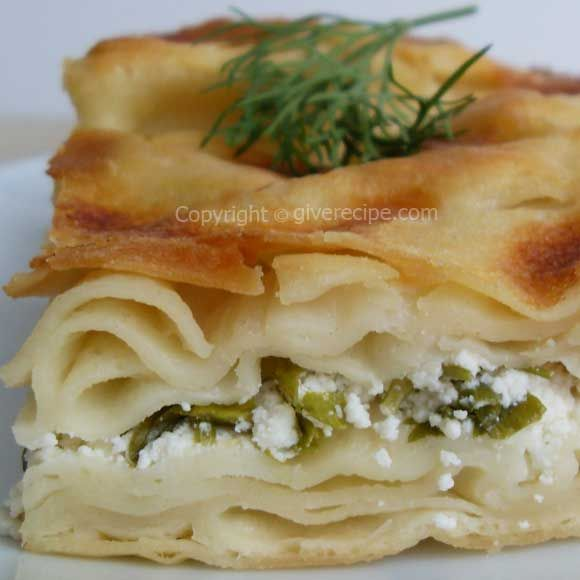 Homemade phyllo sheets boiled in water and then make this borek. | giverecipe.com | #phyllo #borek #turkish