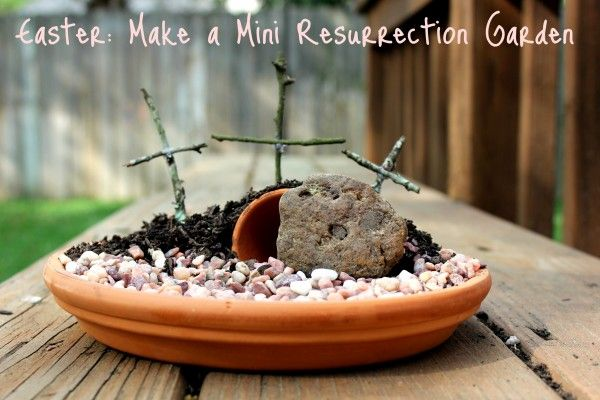 Mini-Resurrection gardens to prepare for Easter -- each child makes their own.