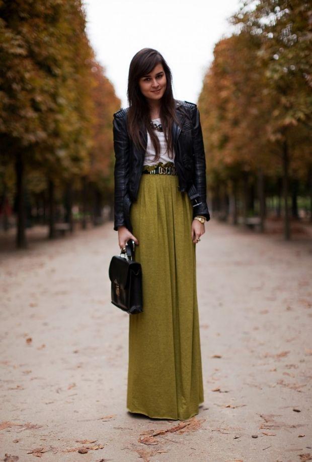 юбка в пол хаки и куртка