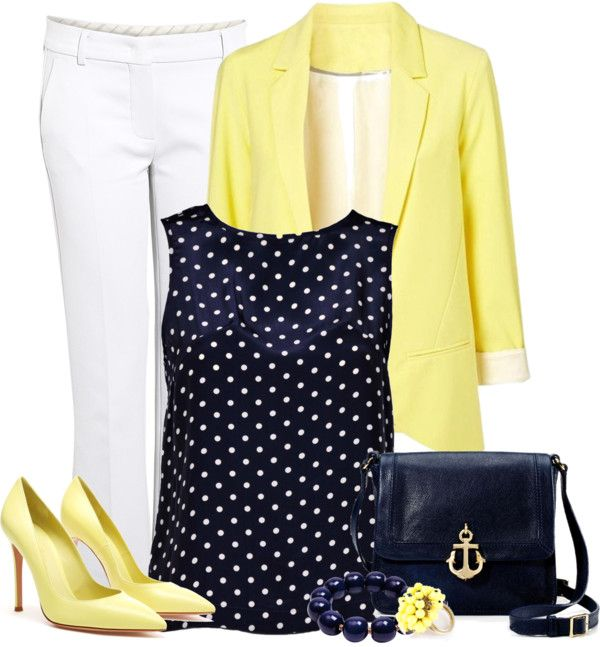 another classy idea. white capris, spring yellow blazer, navy polka dot blouse, little yellow heels, and chunky bead bracelet