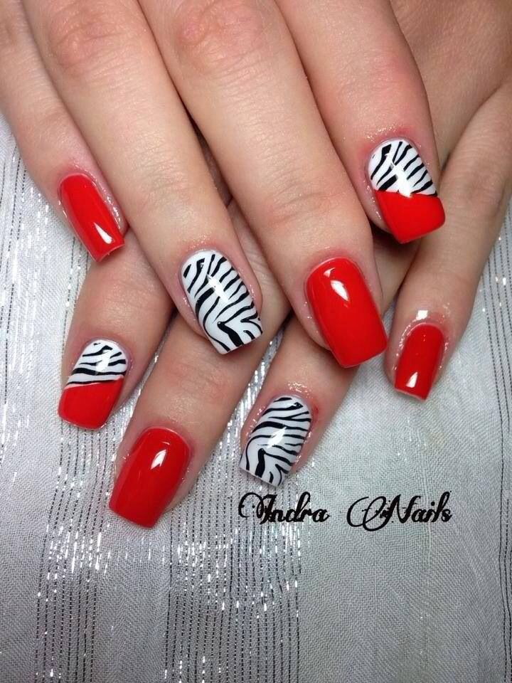 Red & zebra nails