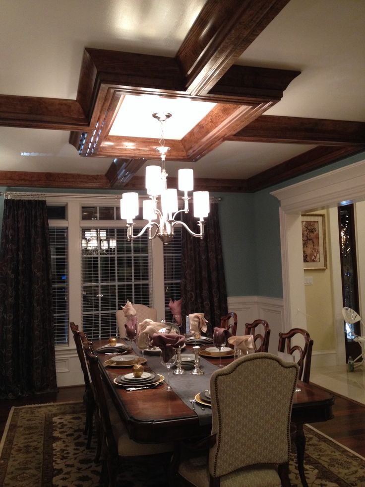 Dark tray ceiling in dining room- Homearama fall 2013Trays Ceilings, Homearama Fall, Fall 2013, Dark Trays
