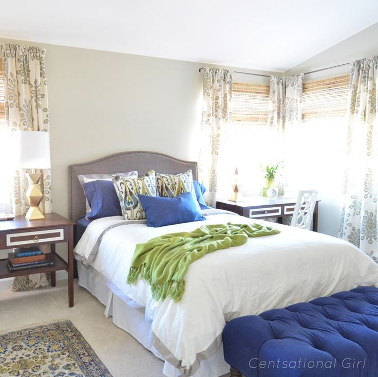 Bedroom With Blue & Green Accents