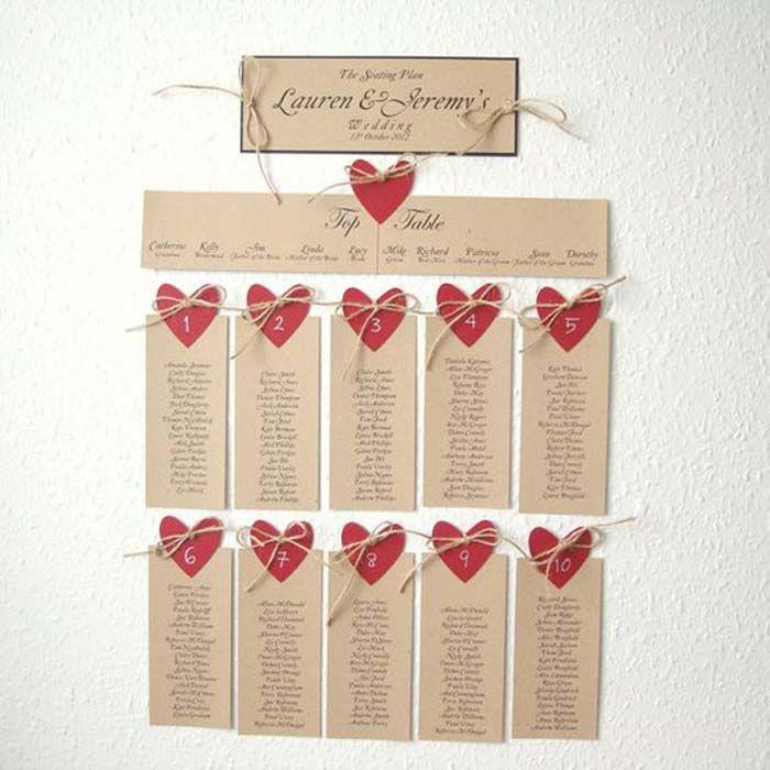 Tableau mariage con cuori rossi