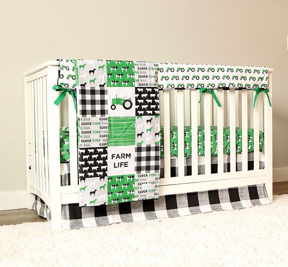 Farm Yard Tractor Bedding Set. Click more to see bedding set details.  Four Piece Set includes: Blanket Crib Sheet Crib Skirt Rail Guard  Please note - Blanket is all one fabric made to look like a patchwork, it is not individual pieces sewn together. ****  Crib Skirt - 14 drop, flat