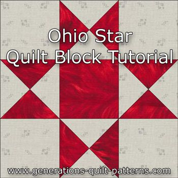 Learn to make an Ohio Star quilt block. Instructions in five sizes...Skill Level: Confident beginnerThis block frequently makes an appearance in sampler quilts (quilts made from all unique blocks used to teach different techniques to beginning quilters) because it's the perfect place to practice making quarter square triangles (QST).