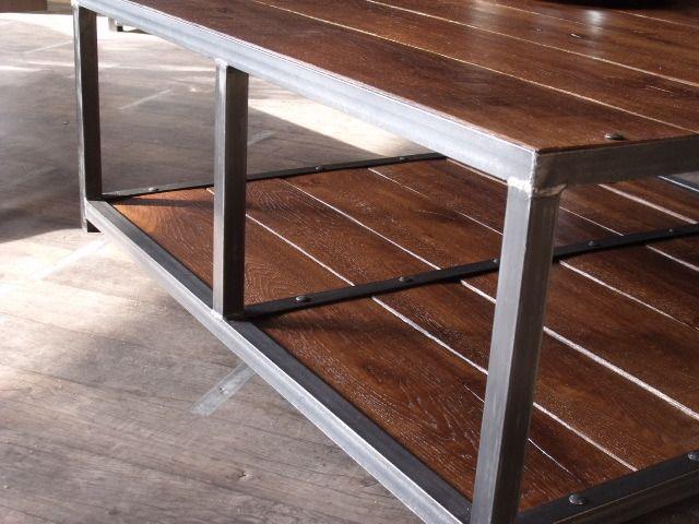 Table basse bois et métal design industriel