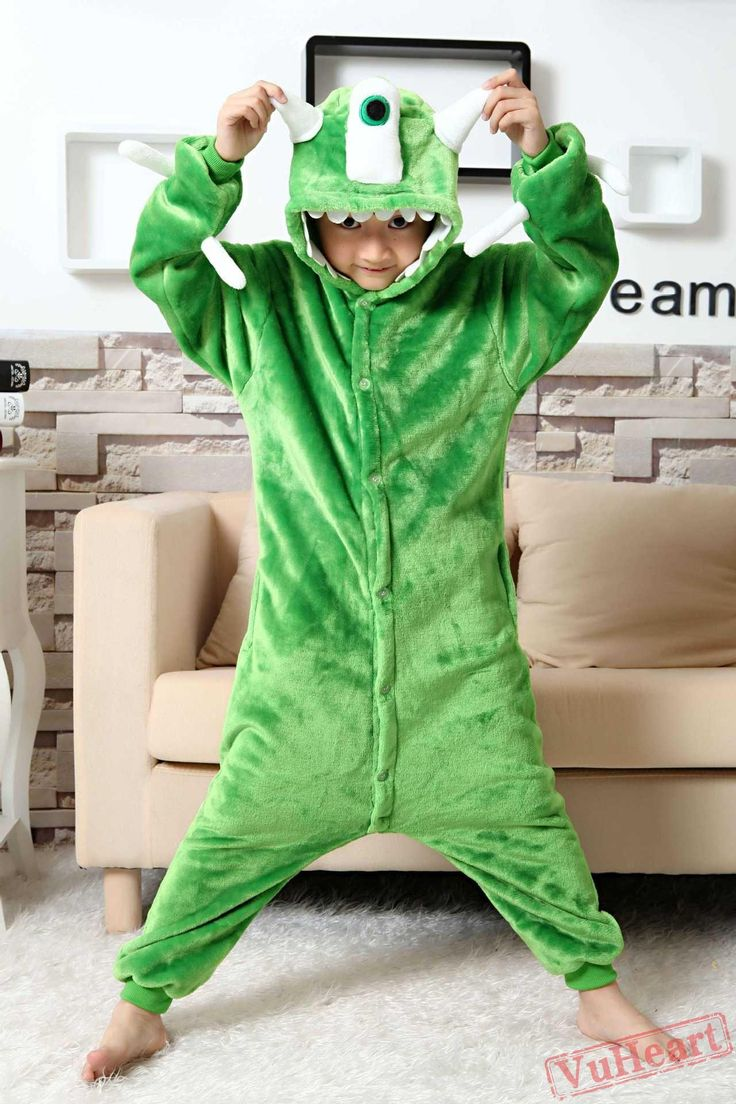 Monster Inc Mike Wazowski Kigurumi Onesies Pajamas Costumes for Boys & Girls
