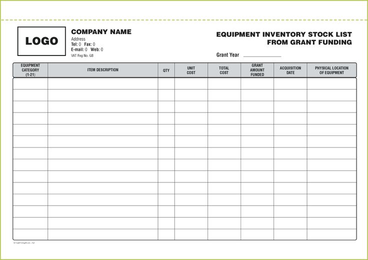 Inventory Form 1 A4 Ref 089 Stock List Checklist