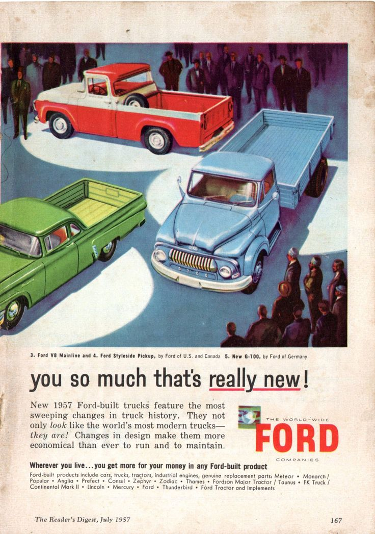 https://flic.kr/p/HtM5fM | 1957 World Wide Ford Trucks Thames Trader Of Britian Mercury M-600 Of Canada Mainline V8 Coupe Utility Of Australia Styleside Pick-Up Of USA & Canada G-700 Of Germany Page 2 Aussie Original Magazine Advertisement