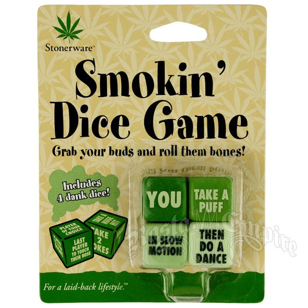 Grab some buds (friends) and get ready to have a smokin' good time. This dice set includes 4 dice. Each dice has a task for you and your friends to complete.