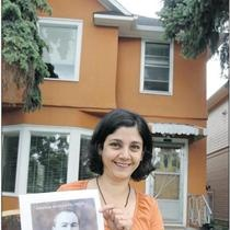 "Calgary Herald article, July 5, 2012... Silvina Mema holds a picture of former Calgary alderman ""Tappy"" Presswood Frost in front of her Memorial Drive home. After research, she discovered the local politician used to live there.... Photo: Calgary Herald"