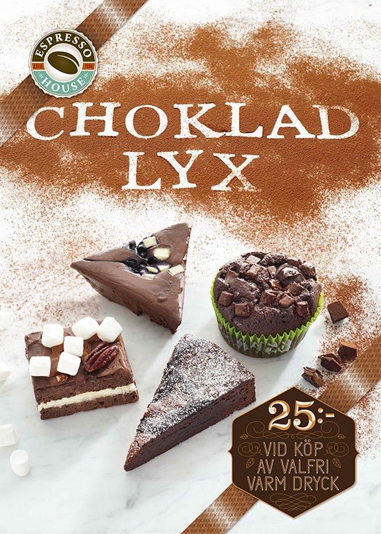 Chocolate Luxury January 2013. All our favourite chocolate pastries for only 25:- when buying a hot drink. A perfect deal for our chocolate fanatics out there! (Offer no longer available)