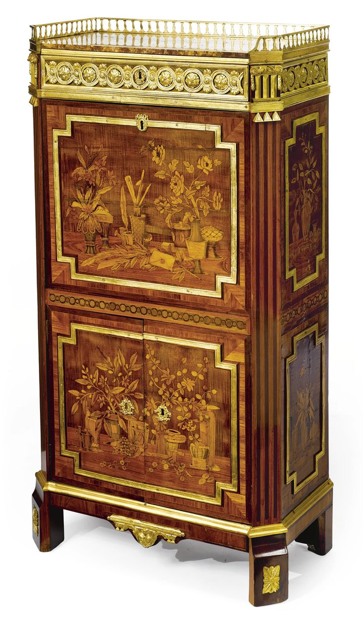 Antique glass flower carvings sideboard crown french furniture - A Louis Xvi Ormolu Mounted Tulipwood Amaranth And Fruitwood Parquetry And Marquetry Secr Taire Abattant Circa Stamped J Manser Jme And P