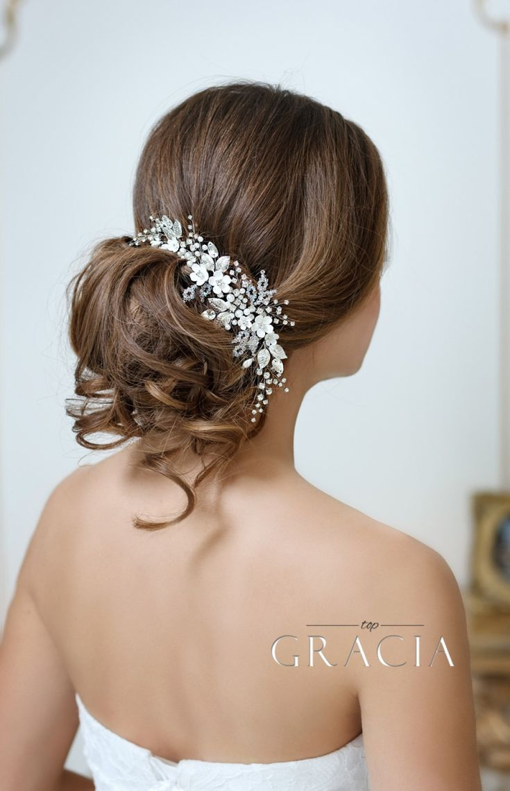 ADONI White Ivory Flower Hairpiece for Wedding With Crystals by TopGracia