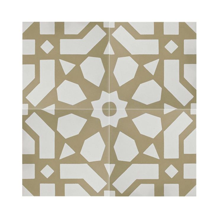 Mosaic Azilal White and Yellow Handmade Moroccan 8 x 8 inch Cement and Granite Floor or Wall Tile (Case of 12) (Azilal White andd Yellow)