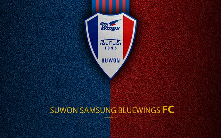 Download wallpapers Suwon Samsung Bluewings FC, 4k, logo, South Korean football club, K-League Classic, leather texture, emblem, Suwon, South Korea, football championship