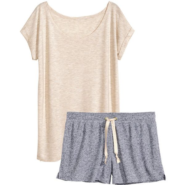 H&M Jersey pyjamas ($14) ❤ liked on Polyvore featuring intimates, sleepwear, pajamas, pijamas, pyjamas, nightwear, light grey, h&m, short sleeve pajamas and jersey knit pajamas
