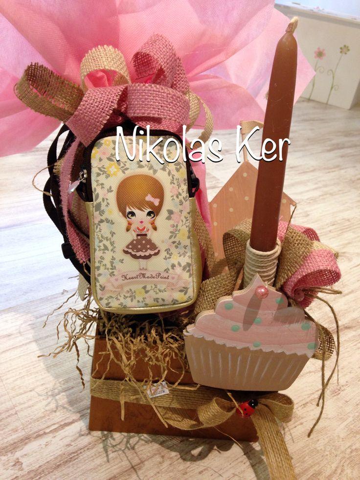 Πασχαλινό κουτί με τσαντάκι Νικόλ, σοκολατένιο αυγό & λαμπάδα. www.nikolas-ker.gr