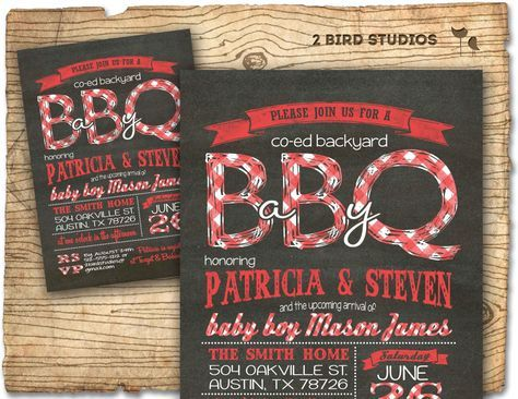 Baby q baby shower invitation - BBQ baby shower coed couples baby shower invite - DIY chalkboard printable invitation for babyque by 2birdstudios on Etsy https://www.etsy.com/listing/185181219/baby-q-baby-shower-invitation-bbq-baby