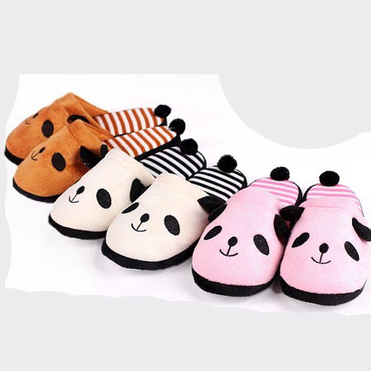 Lovely Cartoon Slippers Panda Home Floor Soft Stripe Slippers Female Shoes Cute