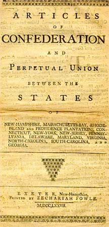 "Part I. Articles of Confederation (1781-1789) The first plan of government of the United States; adopted by the Continental Congress in 1777, and ratified by the last of the 13 states in 1781. Provided for loose congressional government of the nation; real power was left to the individual states. It was a ""league of friendship,"" and not a true union of the several states. Federal power resided in Congress; there was no national executive, and no judiciary."
