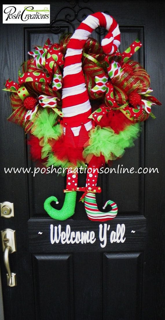 Whimsical Elf Wreath with Legs Christmas Wreath by PoshcreationsKY