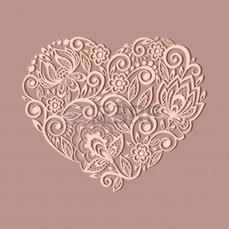 silhouette of the heart symbol decorated with floral pattern, a design element in the old style.  Many similarities to the author's profile ...
