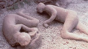 Casts of people in Pompeii who fell victim to the 79 AD Mount Vesuvius eruption.