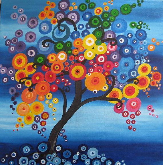 tree of life painting on canvas blue red green by SheerJoy on Etsy, $350.00