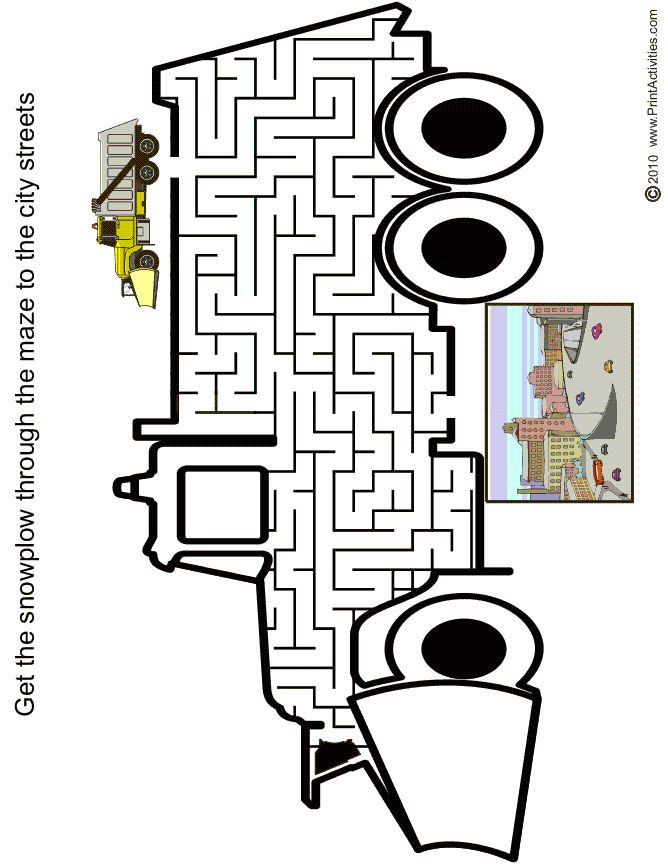 Snowplow shaped maze from PrintActivities.com