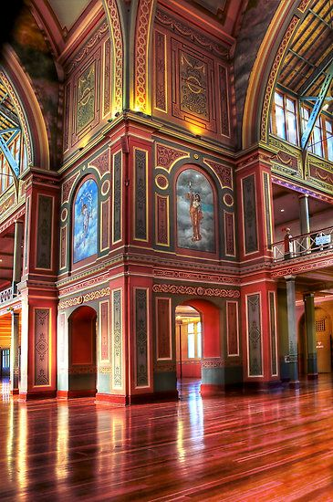 Interior, the Royal Exhibition Building is a World Heritage Site-listed building in Melbourne, Australia.  Scene of Australia's first Parliament.