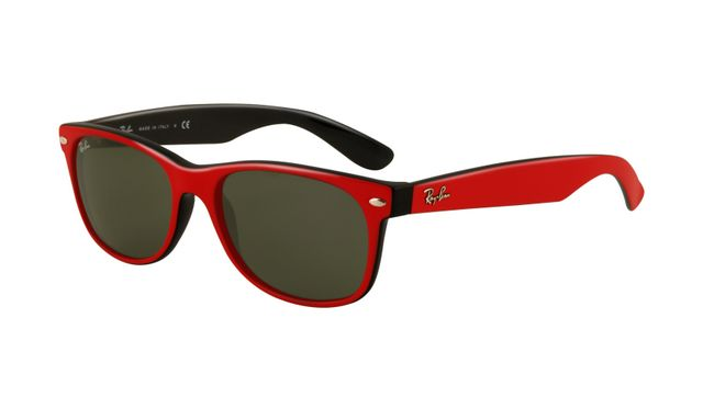 Ray Ban RB2132 Wayfarer Sunglasses Red Frame Crystal Green Polar