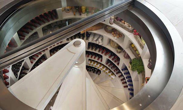A sunken spiral wine cellar