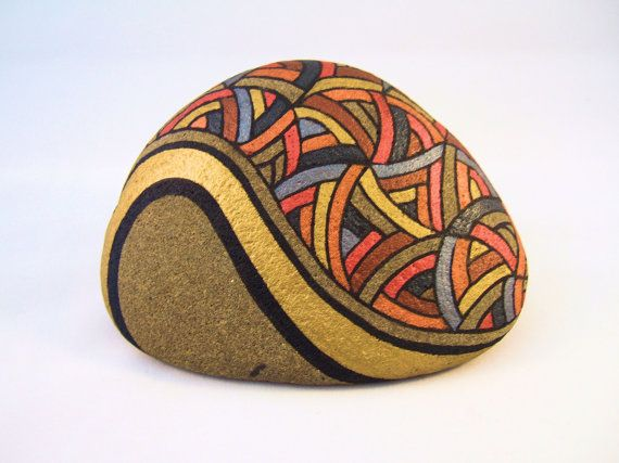 $857.14 Painted Rock Unique OOAK Collectible Art for Home Office, 3D Art Object, Autumn Gold, Orange, Brown, Slate Blue, and Natural Beige Stone.