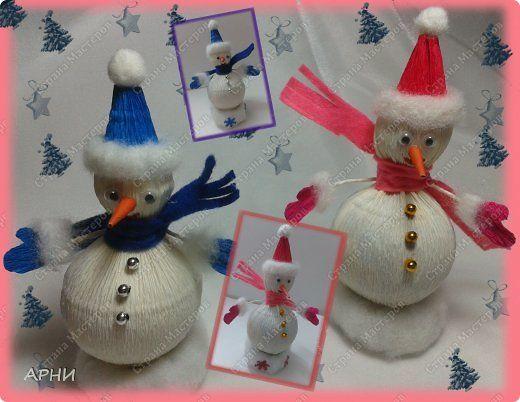 Вот такие  снеговики получились. Мастер класс нашла на просторах интернета http://www.rukodel.tv/publ/32-1-0-586