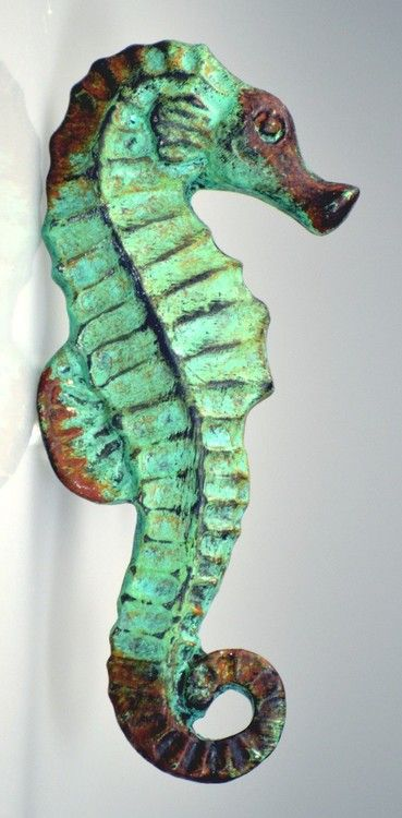 These Antiqued Verdigris Seahorse drawer knobs are swimming their way to adorn and decorate a special furniture piece or cabinet at your home.