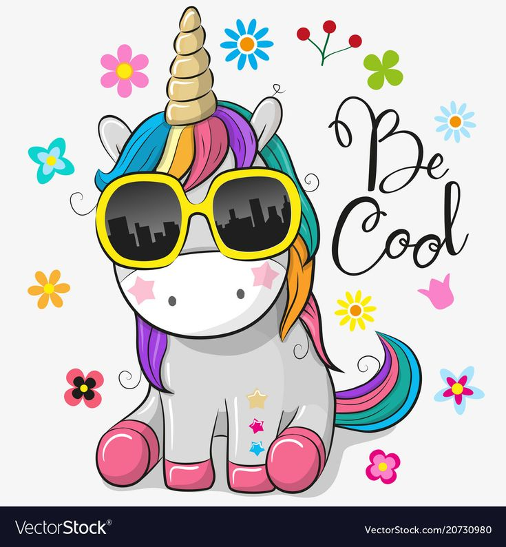 Cute unicorn with sun glasses vector image on