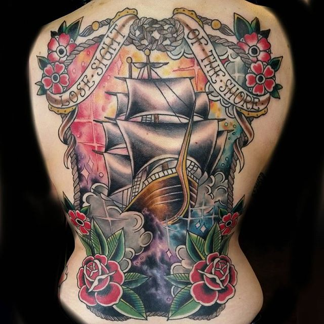 Space Ship back piece in honor of the blood moon #kustomthrills #traditionaltattoo #spacetattoo #spaceship #backpiece