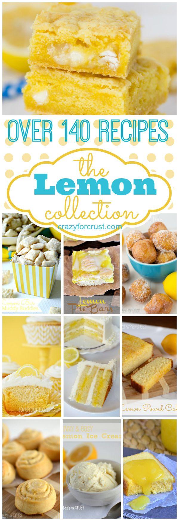 Over 140 Lemon Recipes to satisfy your citrus tooth! | crazyforcrust.com @Crazy for Crust