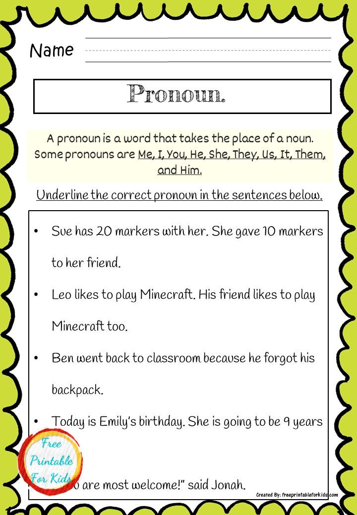 Language Art Pronoun Practice Sheets For Second Grade Language Worksheets Kids Worksheets Printables Printable Worksheets Language arts free printable worksheets
