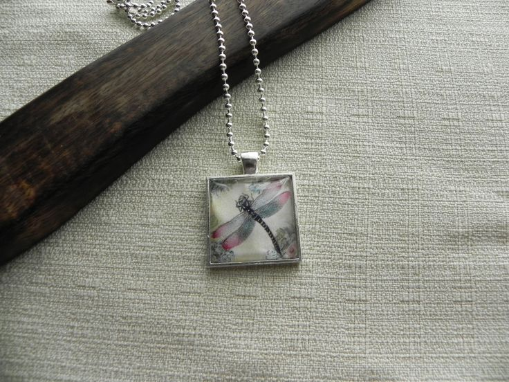 Dragonfly Image Glass Tile Pendant, $15.00 by Annie By Design