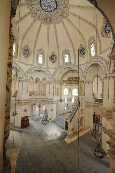 """Church of Saints Sergius and Bacchus. Built in Constantinople in 527 CE. Also know as """"Little Hagia Sofia"""". This church has 8 flat and 8 concave sections that rest on 8 piers."""